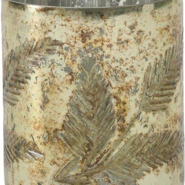 Glass copper Cream leaf round tealight
