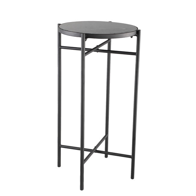Raley black marble side table frame round
