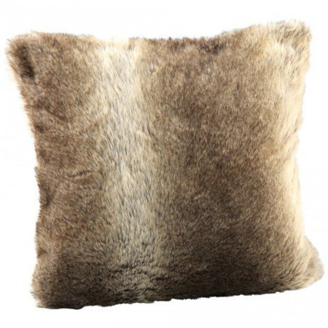 Cushion Brown fake fur with film square 45x45