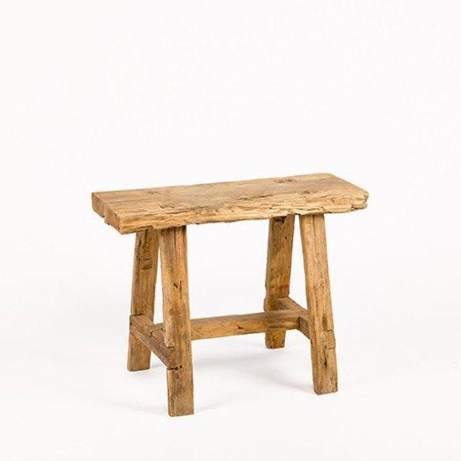 Bankje in massief hout  56x23x43 cm