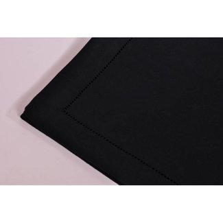Simla Tafelnap polyvis  black  m/ hemstitch.170x350