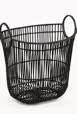 Basket oval iron/rattan with handle 45x30x42 black matt