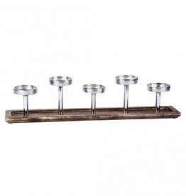 PTMD Aluminium wood candleholder on plate 60x11x14