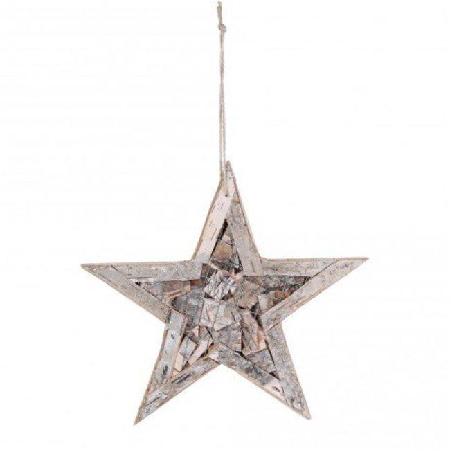 christmas birch haniging star wreath wire S