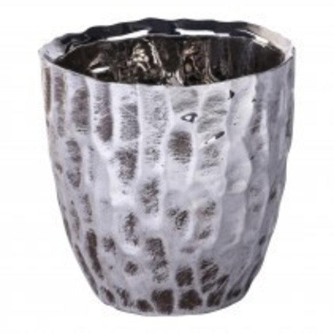 print silver ceramic round pot s