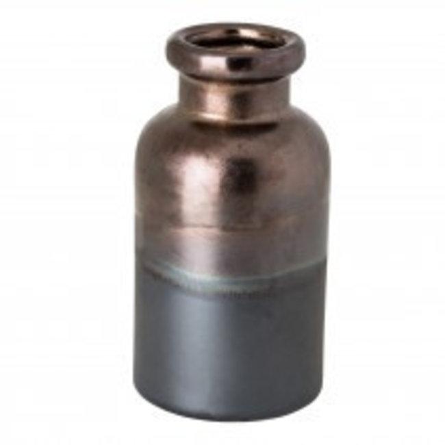 matt petrol round ceramic bottle M