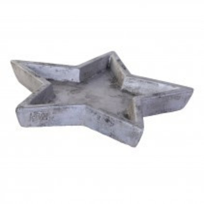 christmas star cement plate grey s
