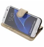 Glitter Wallet TPU Booklet Samsung Galaxy S7 Edge - Gold
