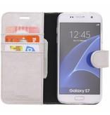 Glitter Wallet TPU Booklet Samsung Galaxy S7 - Zilver