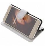 Glitter Wallet TPU Booklet Huawei P10 Lite - Silver