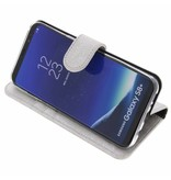 Glitter Wallet TPU Booklet Samsung Galaxy S8 - Silver