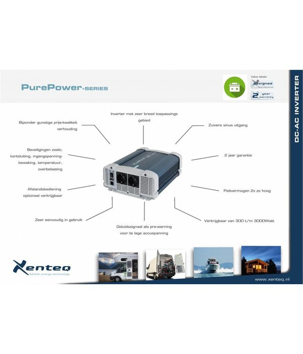 Xenteq ppi-2500-212 zuivere sinus inverter / omvormer 12 Volt 2500 watt
