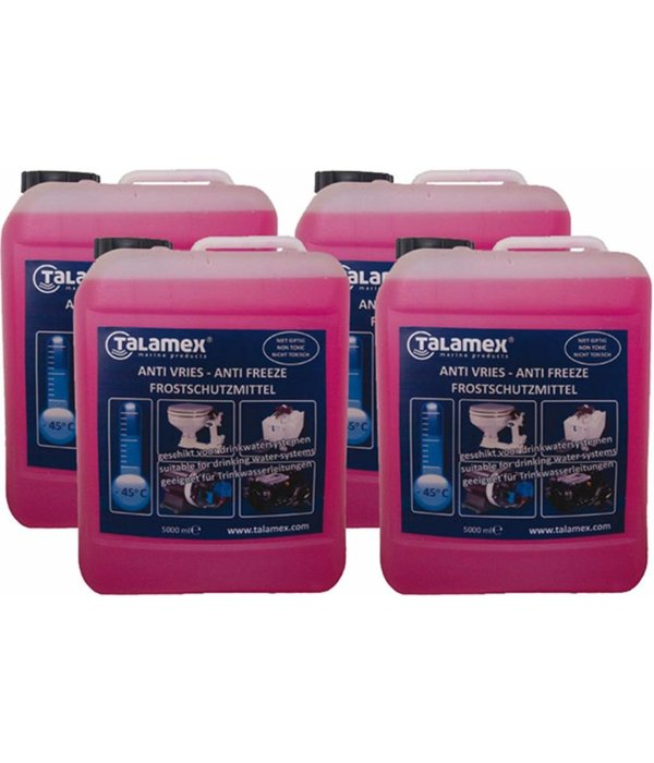 Talamex 5 liter anti-vries voor motor, drinkwaterpompen, tanks en toilet