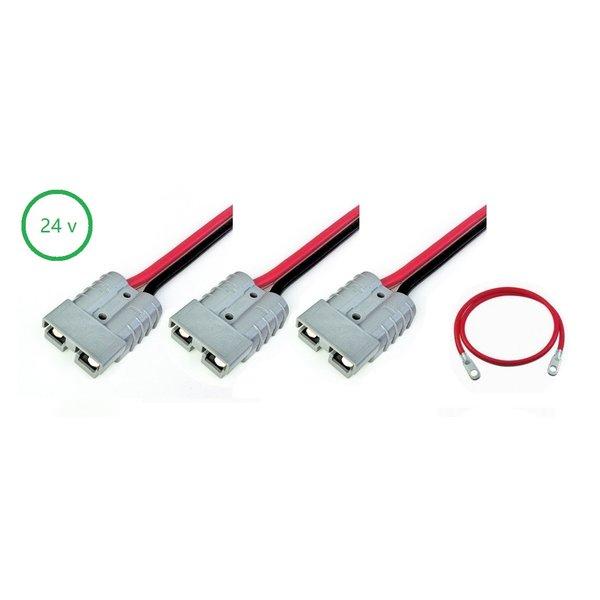 Complete aansluit set 24 volt: voor fluistermotor, acculader en accu's