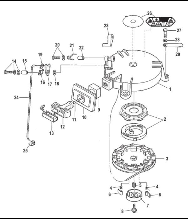 Mercury Compleet startblok voor 4 - 5 - 6 pk buitenboordmotor