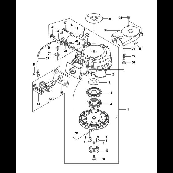 Compleet startblok voor 8 en 9,9 pk buitenboordmotor