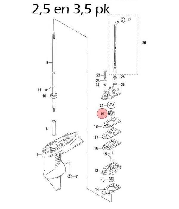 Mercury Waterpomp impeller voor 2,5 t/m 6 pk buitenboordmotor