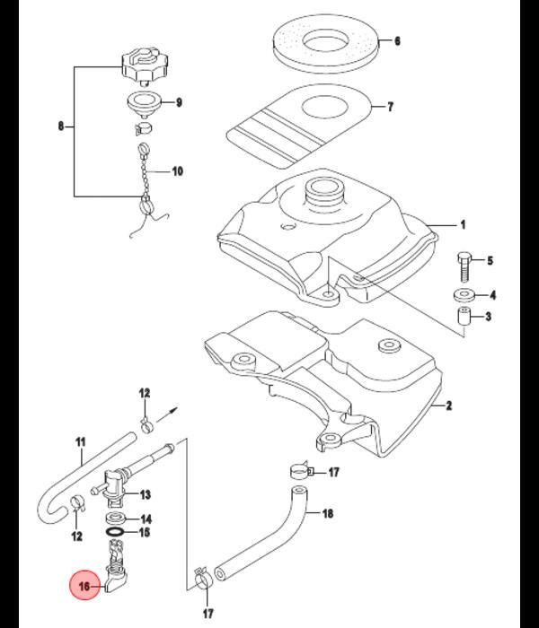 Quicksilver Knop benzinekraan 2,5 en 3,5 pk buitenboordmotor