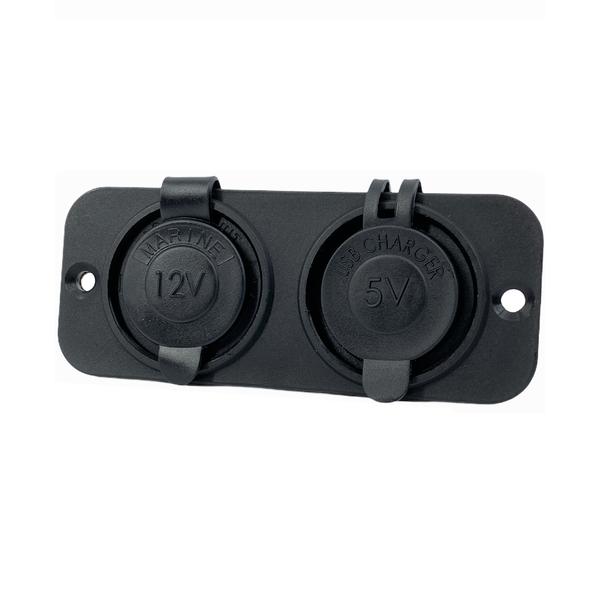 Frame met USB 2,4A en 12V stopcontact