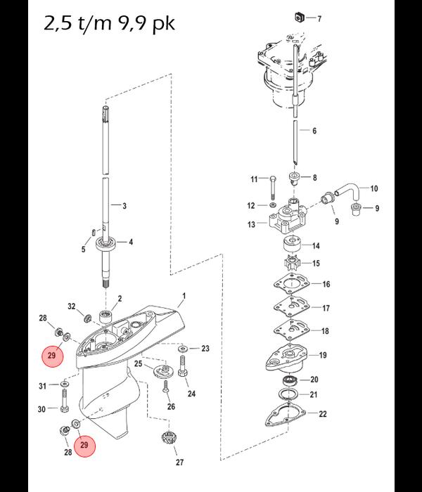 Quicksilver  3 stuks Staartstuk olie afdichtingsring voor buitenboordmotor