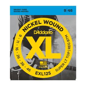 D'addario D'addario EXL125 Nickel Wound, Super Light Top/ Regular Bottom, 9-46