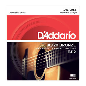 D'addario D'addario EJ12 80/20 Bronze Acoustic Guitar Strings, Medium, 13-56