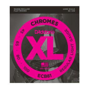 D'addario D'addario  ECB81 Chromes Bass, Light, 45-100, Long Scale