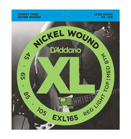 D'addario D'addario EXL165 Nickel Wound Bass, Custom Light, 45-105, Long Scale