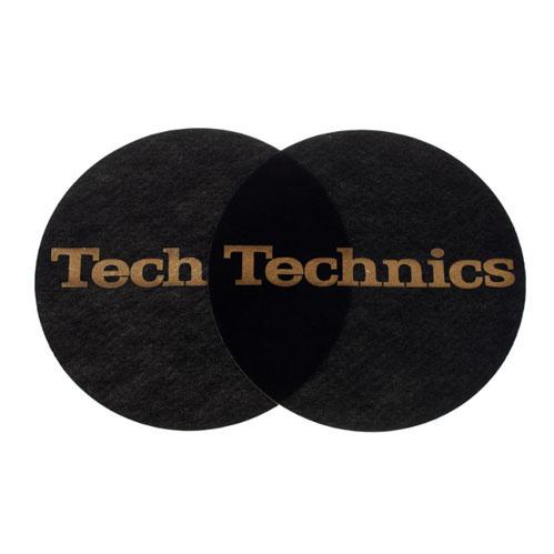 Technics Technics Slipmat Schwarz/Gold Logo 2 Stück