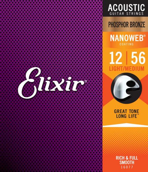 Elixir Elixir - Nanoweb Light/Medium - 16077 - Phosphor Bronze - 12-56