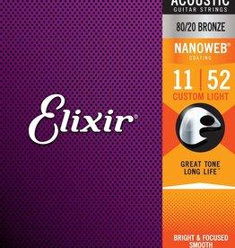 Elixir Elixir - 11-52 - Nanoweb Custom Light - 11027 - 80/20 Bronze