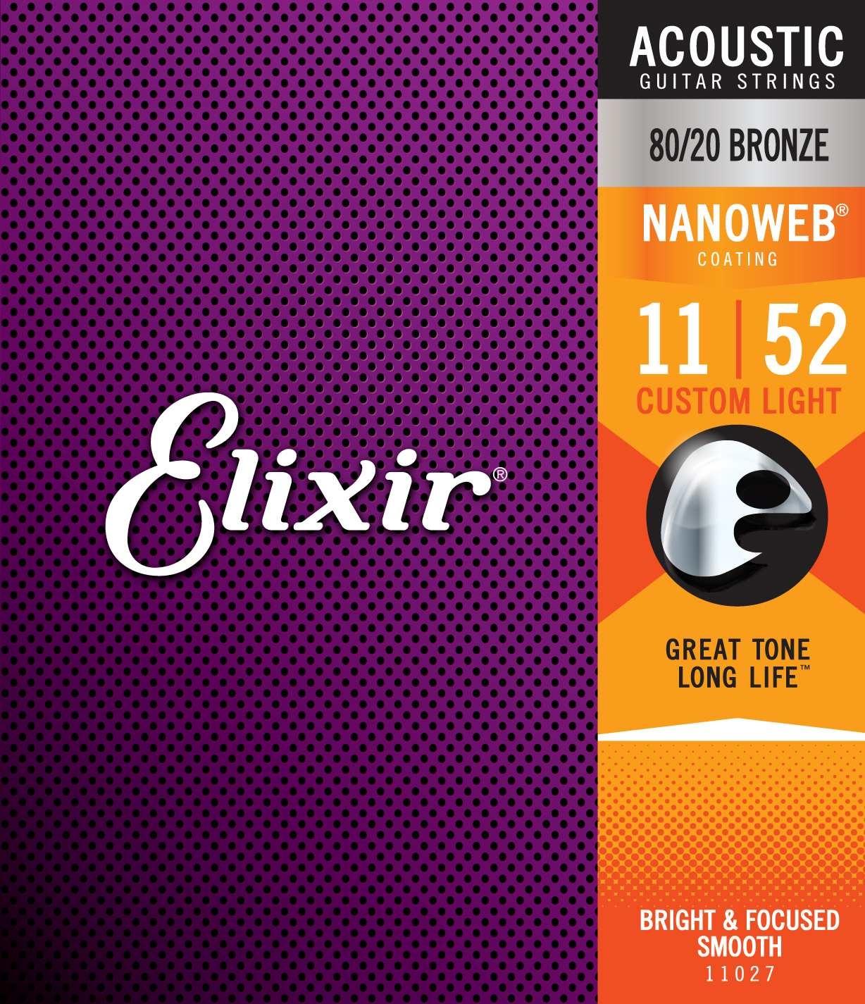 Elixir Elixir - Nanoweb Custom Light - 11027 - 80/20 Bronze - 11-52
