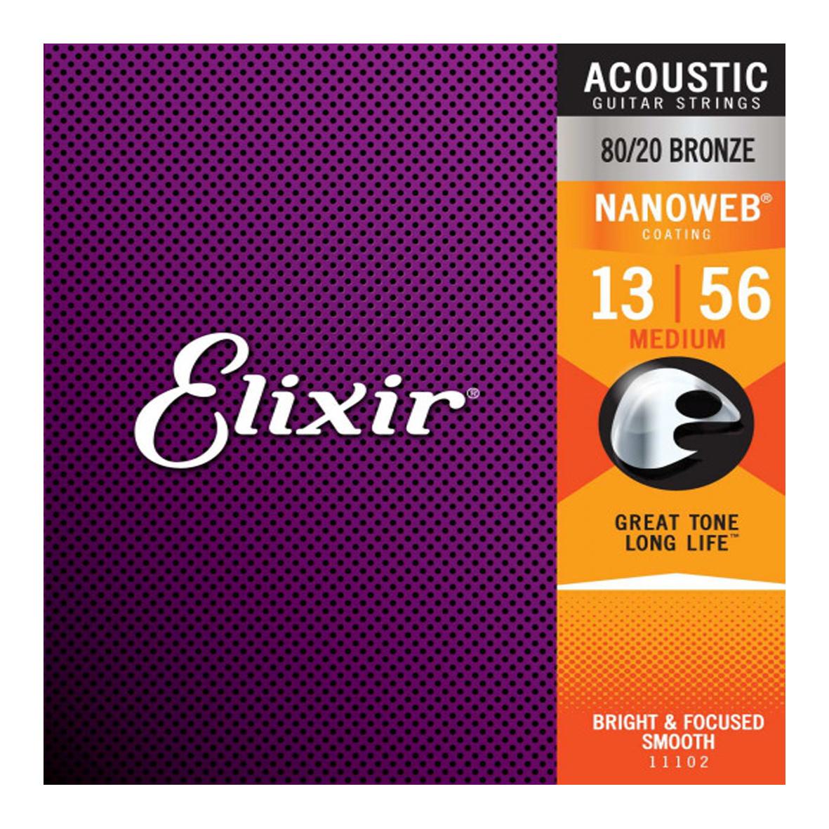 Elixir Elixir - 13-56 - Nanoweb Medium - 11102 - 80/20 Bronze
