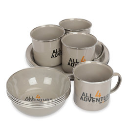 All4Adventure Emaille servies set (12 stuks)