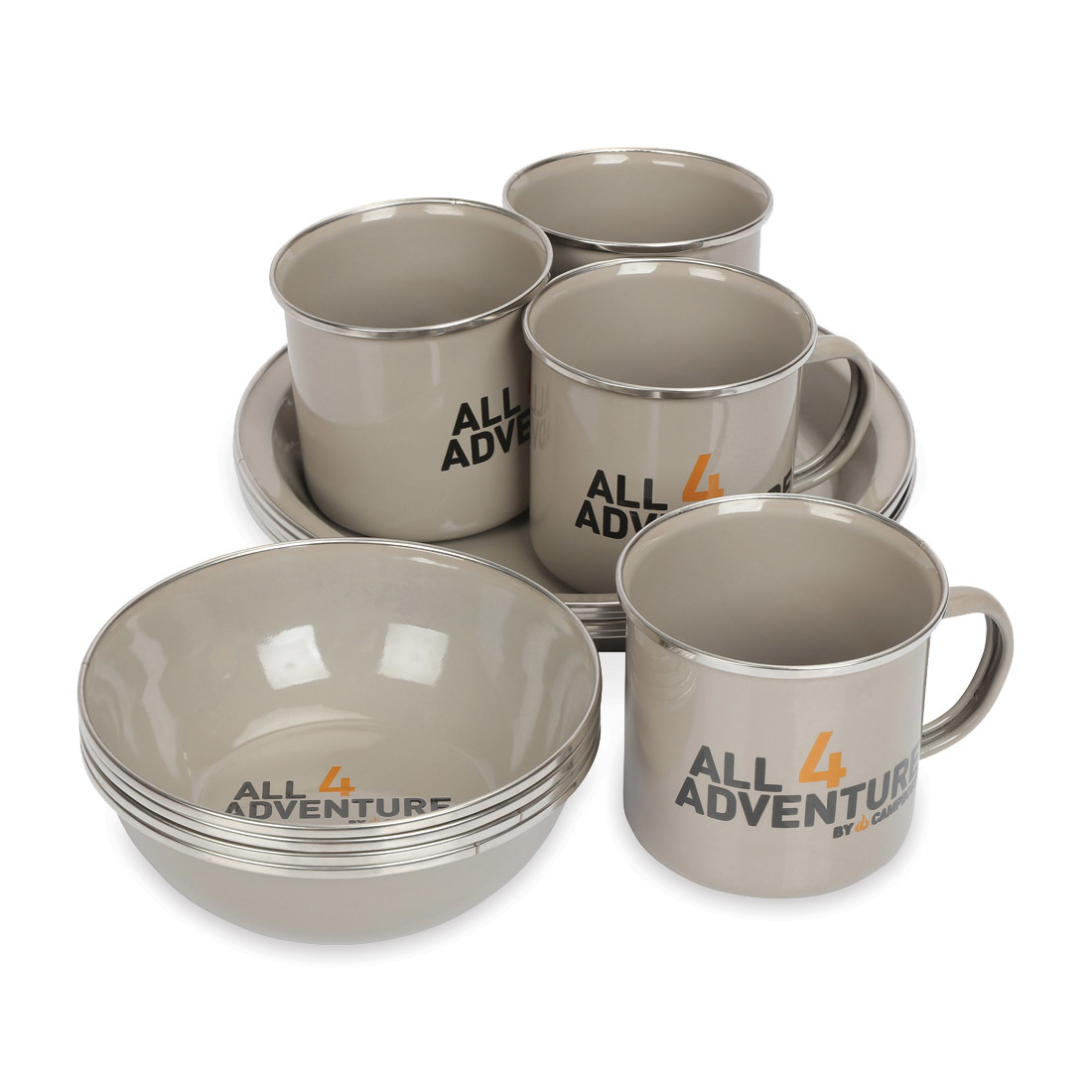 All4Adventure Ensemble de vaisselle en émail (12 pièces)