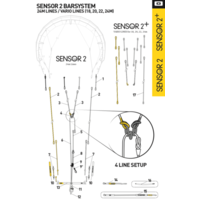 Core SENSOR 2-3 Steeringlines 24m, white/yellow