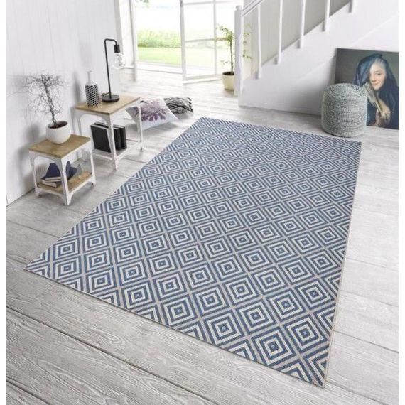 Bougari Buiten vloerkleed - Karo blauw