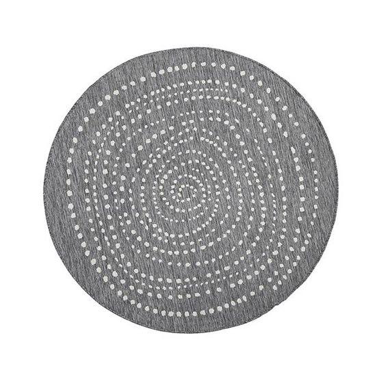 Bougari Rond Buitenkleed - Twin Dot Grijs/Creme