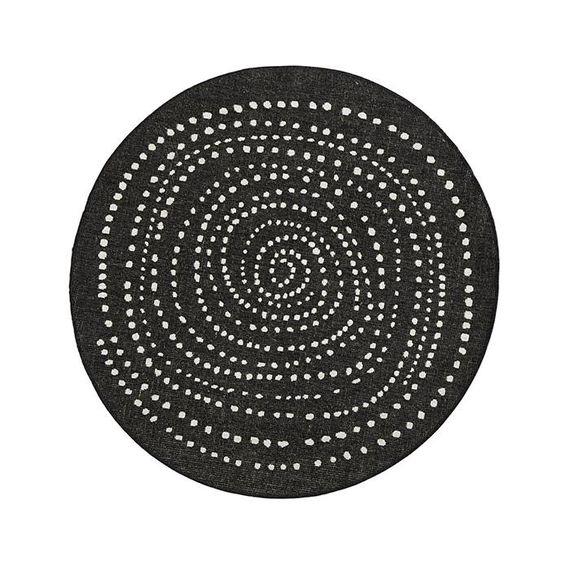 Bougari Rond Buitenkleed - Twin Dot Zwart/Creme
