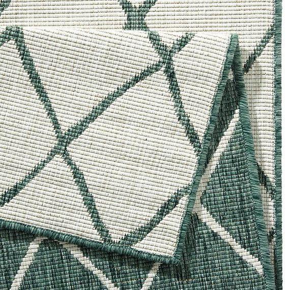 Bougari Vloerkleed - Twin Lines Groen/Creme