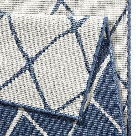 Bougari Buitenkleed - Twin Lines Blauw/Creme