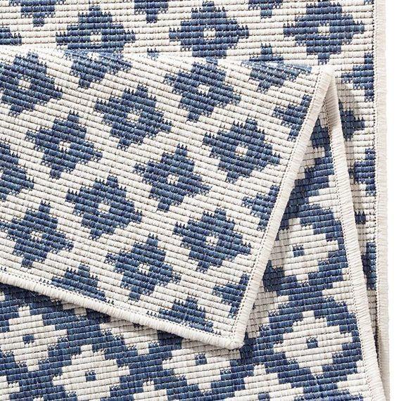 Bougari Buiten vloerkleed - Twin Cubes Blauw/Creme