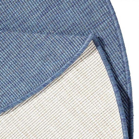 Bougari Rond Buitenkleed - Twin Solid Blauw/Creme