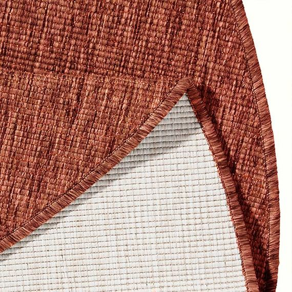 Bougari Rond Buitenkleed - Twin Solid Terra/Creme
