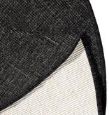 Bougari Rond Buitenkleed - Twin Solid Zwart/Creme