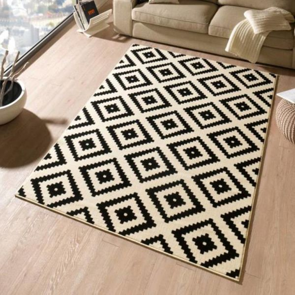 Retro vloerkleed - Square zwart/creme