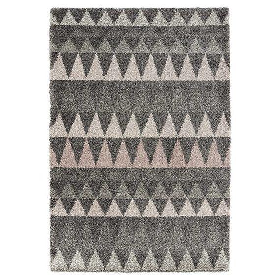 Mint Rugs Hoogpolig vloerkleed - Allure Triangel grijs/roze