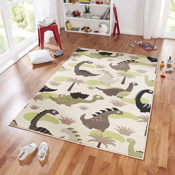 Kindervloerkleed Nala - dinosaurus groen/bruin