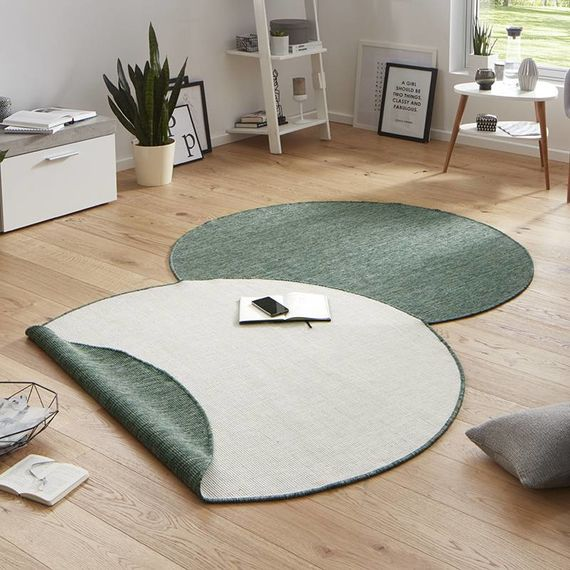 Bougari Rond vloerkleed - Twin Solid Groen/Creme