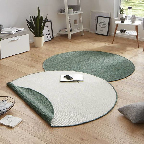 Rond buitenkleed - Twin Solid Groen/Creme